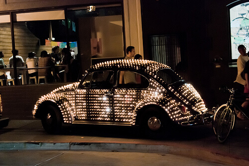 Car kitted up with lights