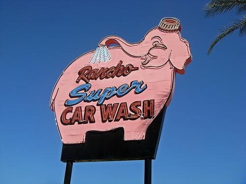 Rancho super car wash sign