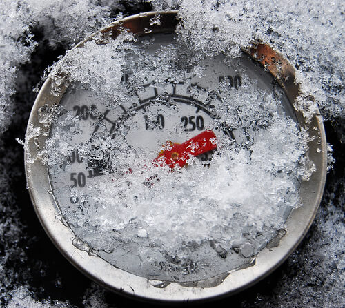 Thermometer covered with snow
