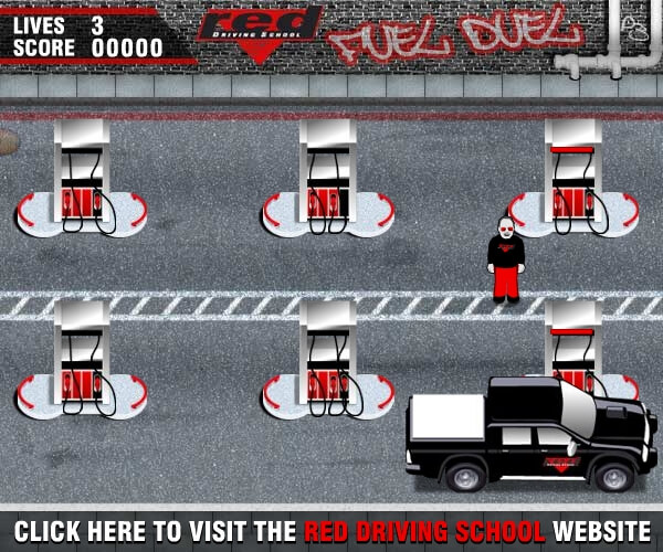 Red Driving school fuel duel game