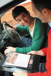 Learner driver in car with instructor