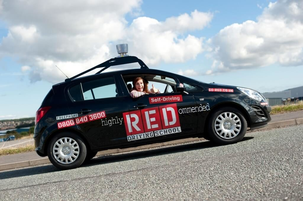 Black RED driving school car