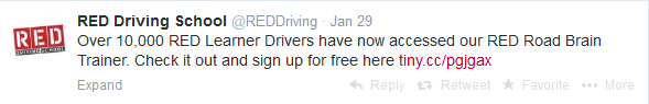 RED driving school twitter screenshot
