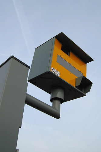 speed camera against blue sky