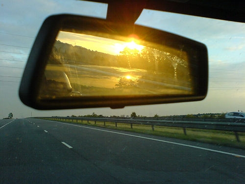 Sun glare on rear view mirror