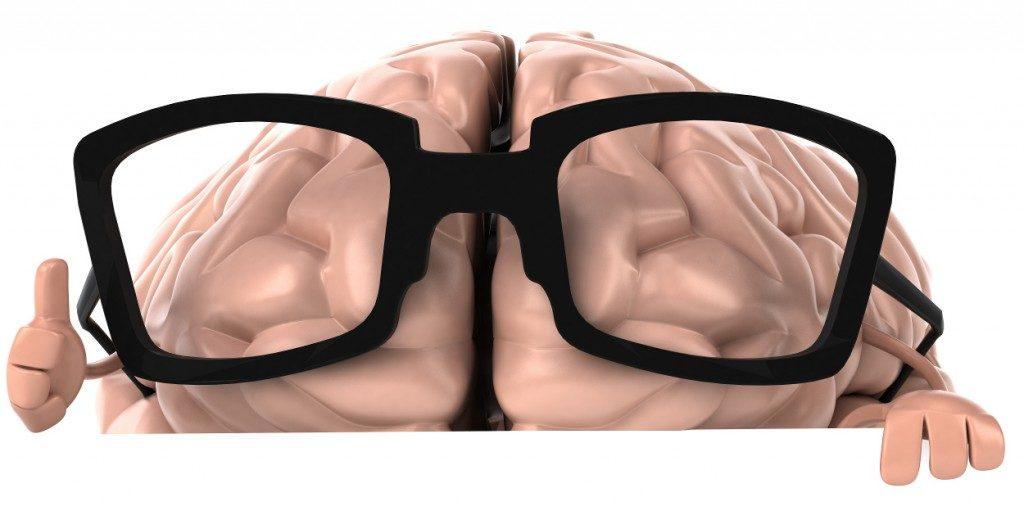 Black rimmed glasses on brain
