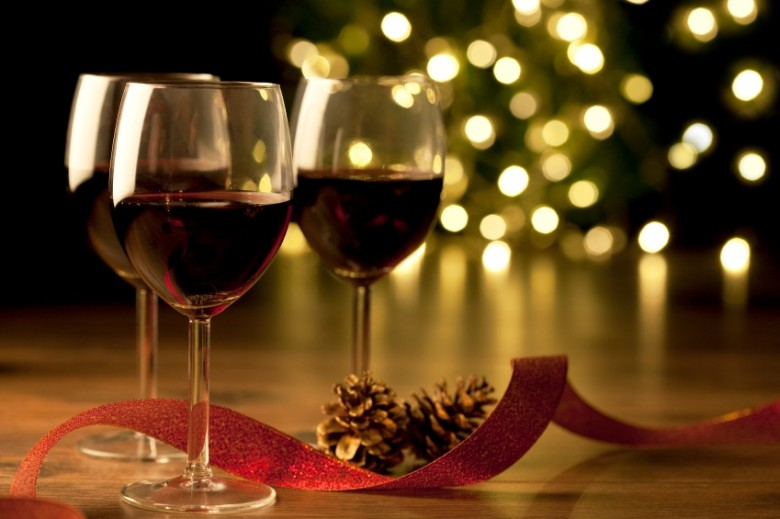Red wine glasses at Christmas